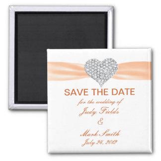 Diamond Heart Orange Wedding Save The Date Magnet 2 Inch Square Magnet
