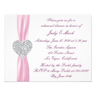 Diamond Heart Pink Rehearsal Dinner Invitation