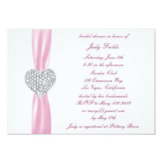 Diamond Heart Pink Wedding Bridal Shower Invite