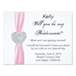 Diamond Heart Pink Wedding Bridesmaid Card