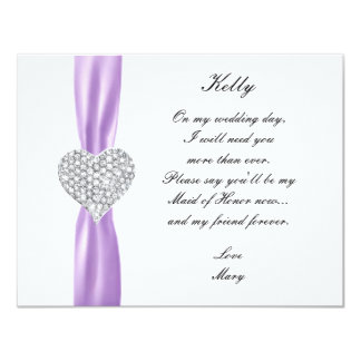 Diamond Heart Purple Wedding Maid Of Honor Card