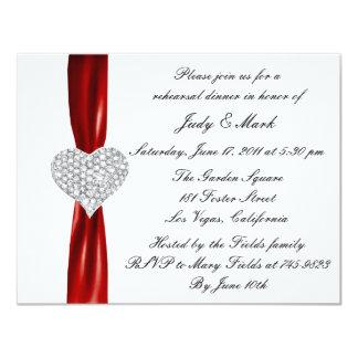 Diamond Heart Red Rehearsal Dinner Invitation