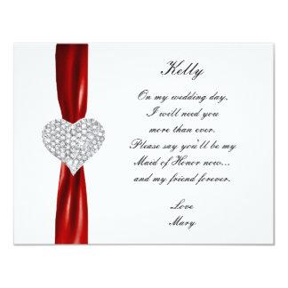 Diamond Heart Red Wedding Maid Of Honor Card Custom Announcement