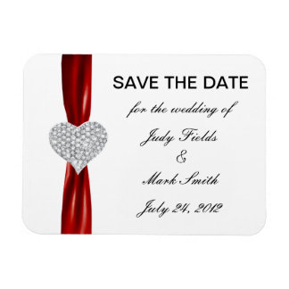Diamond Heart Red Wedding Save The Date Magnet