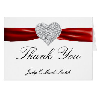 Diamond Heart Red Wedding Thank You Card Note Card