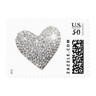 diamond heart, romantic wedding love postage