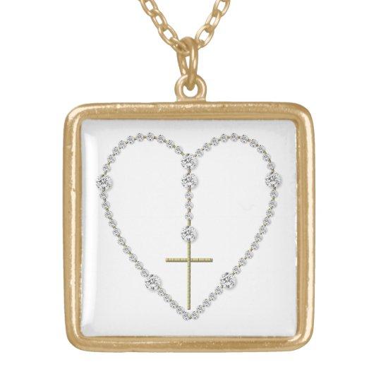 """""""Diamond"""" Heart-Shaped Rosary Necklace"""