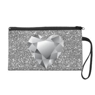Diamond Heart Silver Faux Glitter Wristlet Clutches