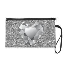 Diamond Heart Silver Faux Glitter Wristlet Purse