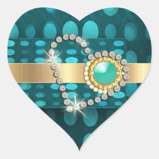 Diamond heart sparkling aqua gems heart sticker
