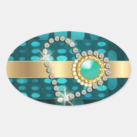 Diamond heart sparkling aqua gems oval sticker