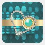 Diamond heart sparkling aqua gems square sticker