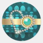 Diamond heart sparkling aqua gems stickers