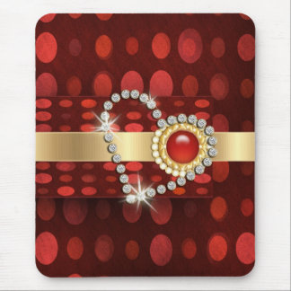 Diamond heart sparkling red gems mouse pad