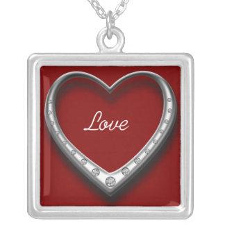 Diamond Heart Square Pendant Necklace