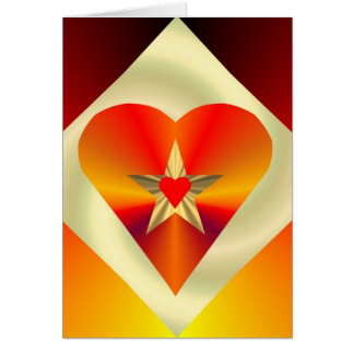Diamond Heart Star Greting Card