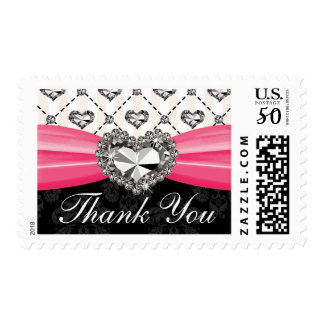 Diamond Heart Thank You Postage Stamps Hot Pink Bl