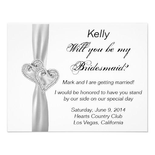 Diamond Heart White Wedding Bridesmaid Card