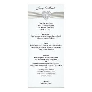 Diamond Heart White Wedding Menu Card