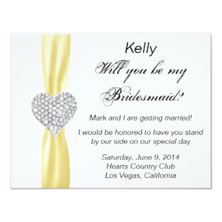 Diamond Heart Yellow Wedding Bridesmaid Card