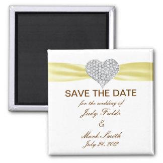 Diamond Heart Yellow Wedding Save The Date Magnet