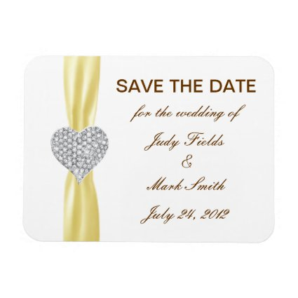 Diamond Heart Yellow Wedding Save The Date Magnet