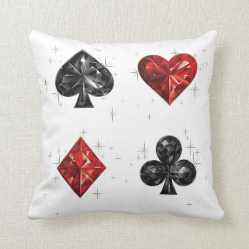 Diamond Hearts and Spades Play Cards Poker Pillow