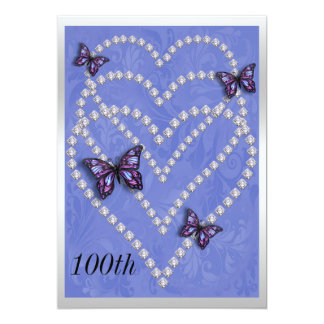 Diamond Hearts & Butterflies 100th Birthday Card