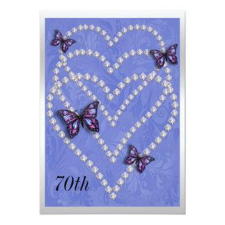 Diamond Hearts & Butterflies 70th Birthday Card