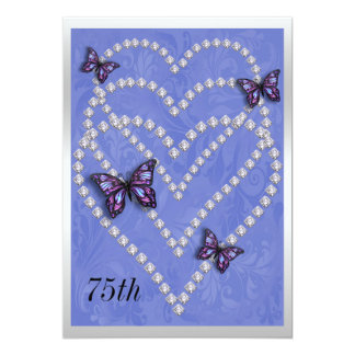 Diamond Hearts & Butterflies 75th Birthday Card