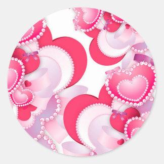 Diamond-Hearts Classic Round Sticker