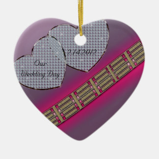 Diamond Hearts Lavender and Pink Ceramic Ornament