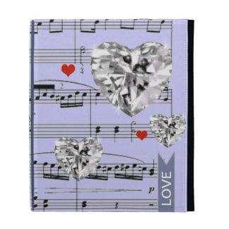 diamond hearts music notes iPad case