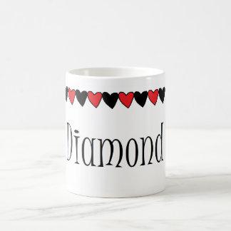 Diamond Hearts Name Mug