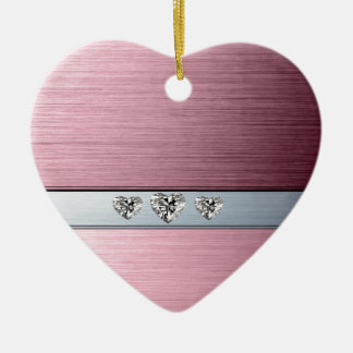 diamond hearts on light pink silvery background ceramic ornament