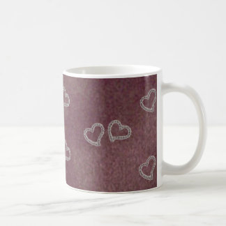 Diamond Hearts on Purple Background Mug
