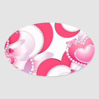 Diamond-Hearts Oval Sticker