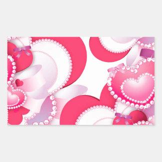 Diamond-Hearts Rectangular Sticker