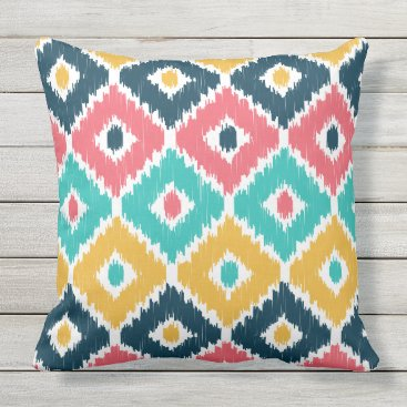 Aztec Themed Diamond Ikat Patterned Pillow