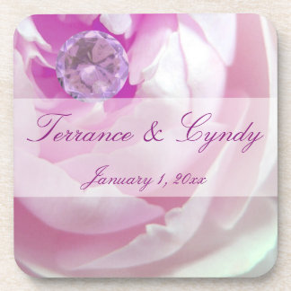 Diamond in a Pink Rose Personal Wedding Drink Coaster