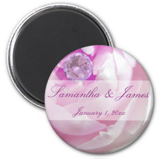 Diamond in a Pink Rose Personal Wedding Magnet
