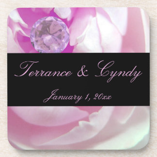 Diamond in Pink Rose Personal Wedding Drink Coaster