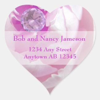 Diamond in Pink Rose Wedding Return Address Label