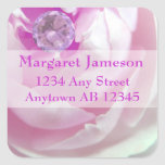 Diamond in Pink Rose Wedding Return Address Square Stickers