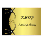 Diamond Jewel Chain Gold Black Wedding RSVP Card Large Business Cards (Pack Of 100)