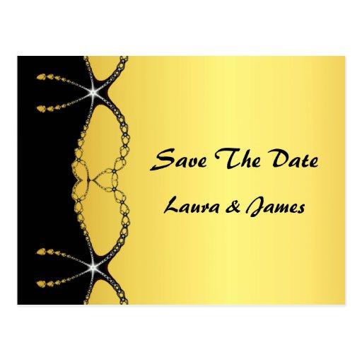 Diamond Jewel Chain Save The Date Wedding Postcard