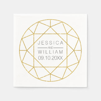Diamond jewel geometric gold glitter wedding napkin