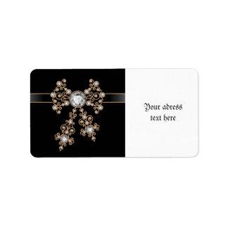 Diamond,jewelry,lace,silver,lace,black,pearls,chic Address Label