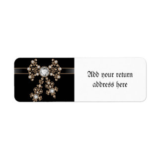 Diamond,jewelry,lace,silver,lace,black,pearls,chic Return Address Label