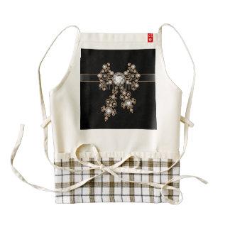 Diamond,jewelry,lace,silver,lace,black,pearls,chic Zazzle HEART Apron